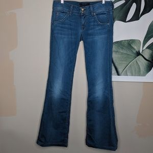Hudson Flare Jeans Button Flap Pockets Mid Rise